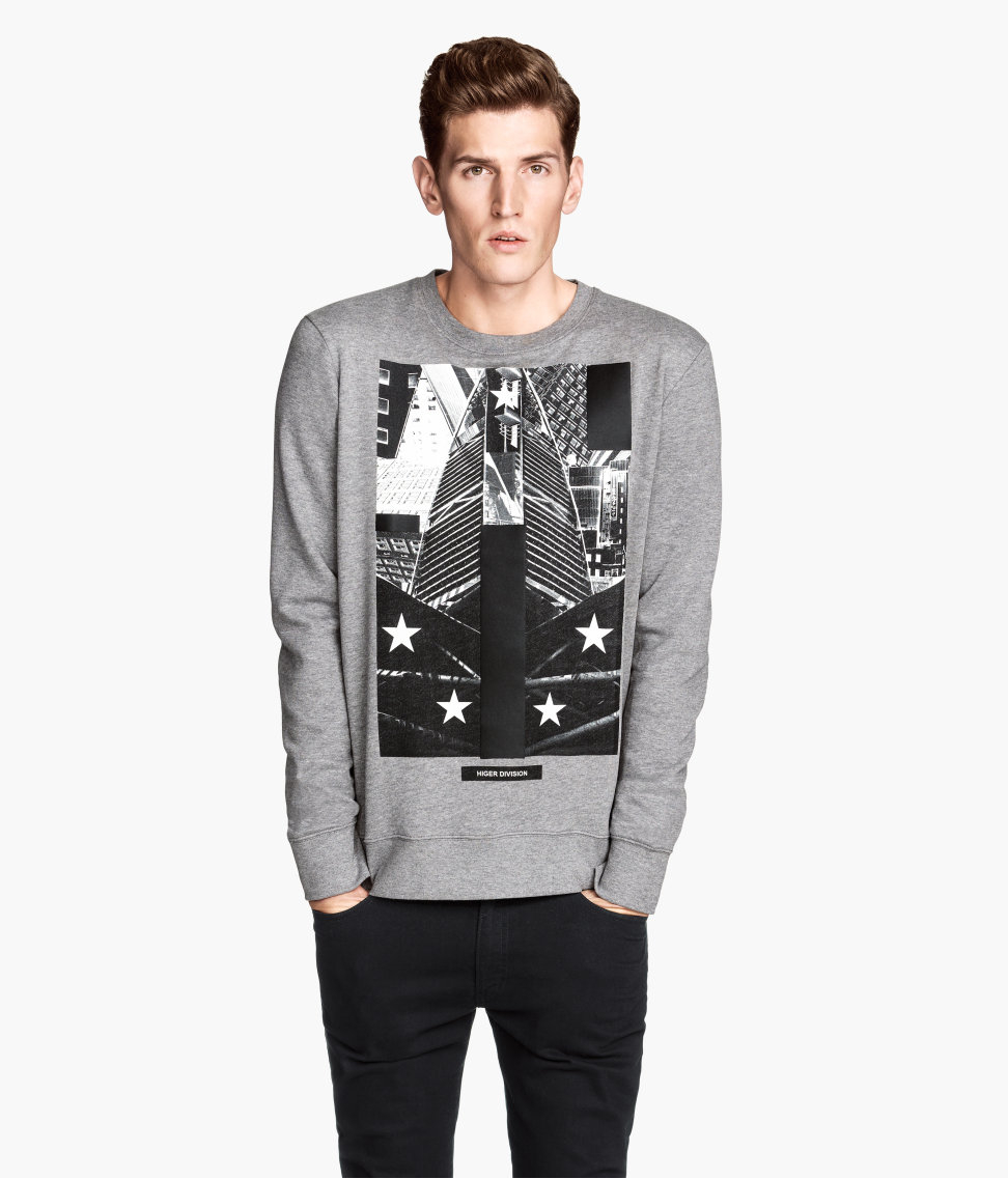 Lyst H M Sweatshirt With A Print In Gray For Men