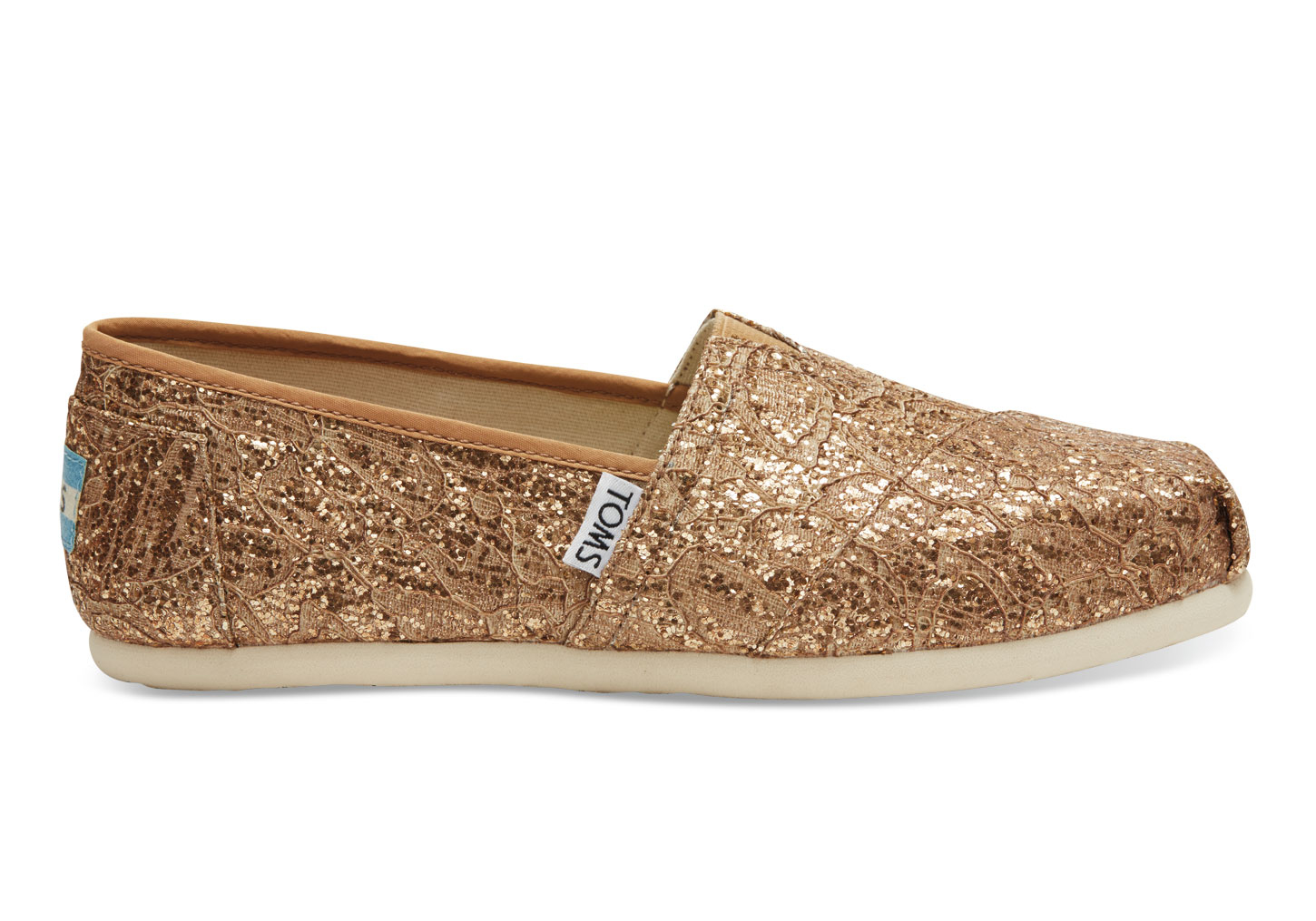 Toms Gold Glitter Shoes Size