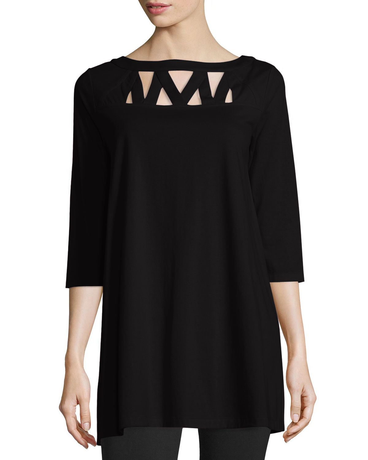 Joan Vass Cut-Out Cotton Tunic In Black