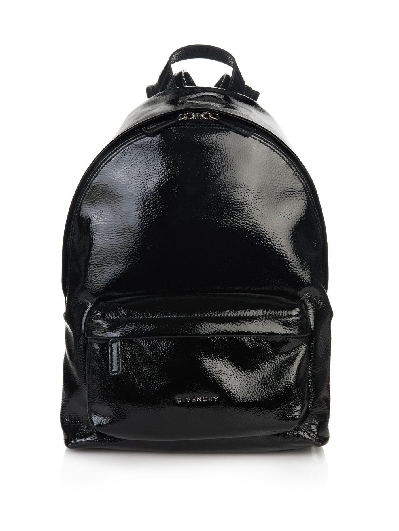Shop leather black patent bag at Neiman Marcus, where you will find free shipping on the latest in fashion from top designers. More Details Versace Zaino Men's Quilted-Nylon Backpack Details Versace backpack in quilted patent faux-leather (acrylic/nylon). Shiny silvertone hardware. Rolled top handle. Adjustable shoulder straps. One front.