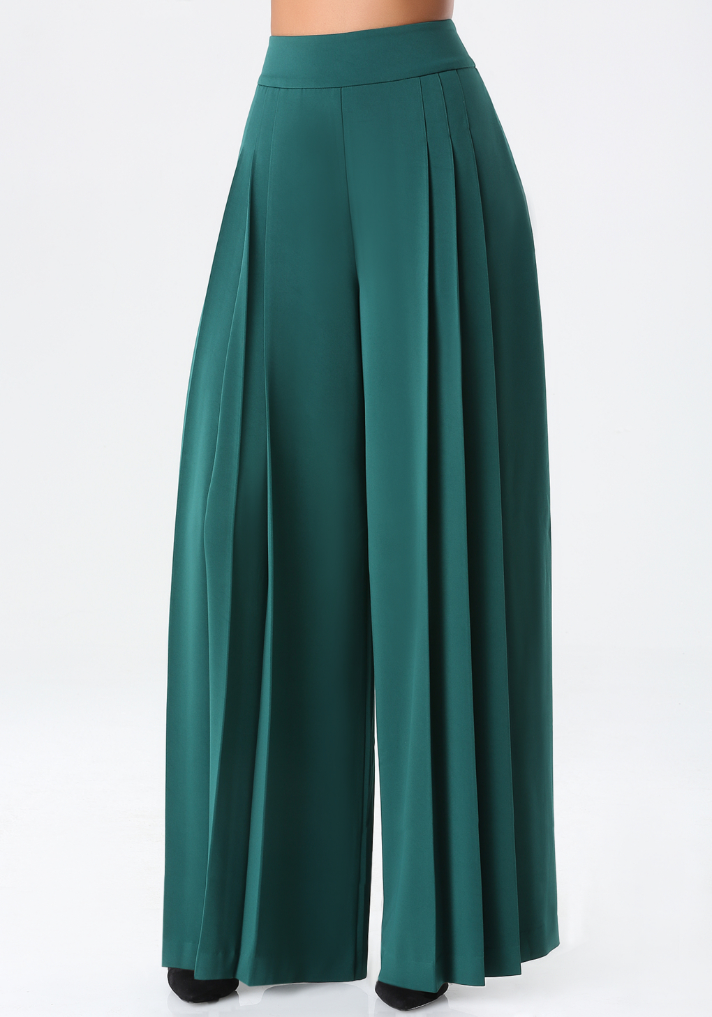 Bebe Pleated Wide Leg Pants in Green | Lyst