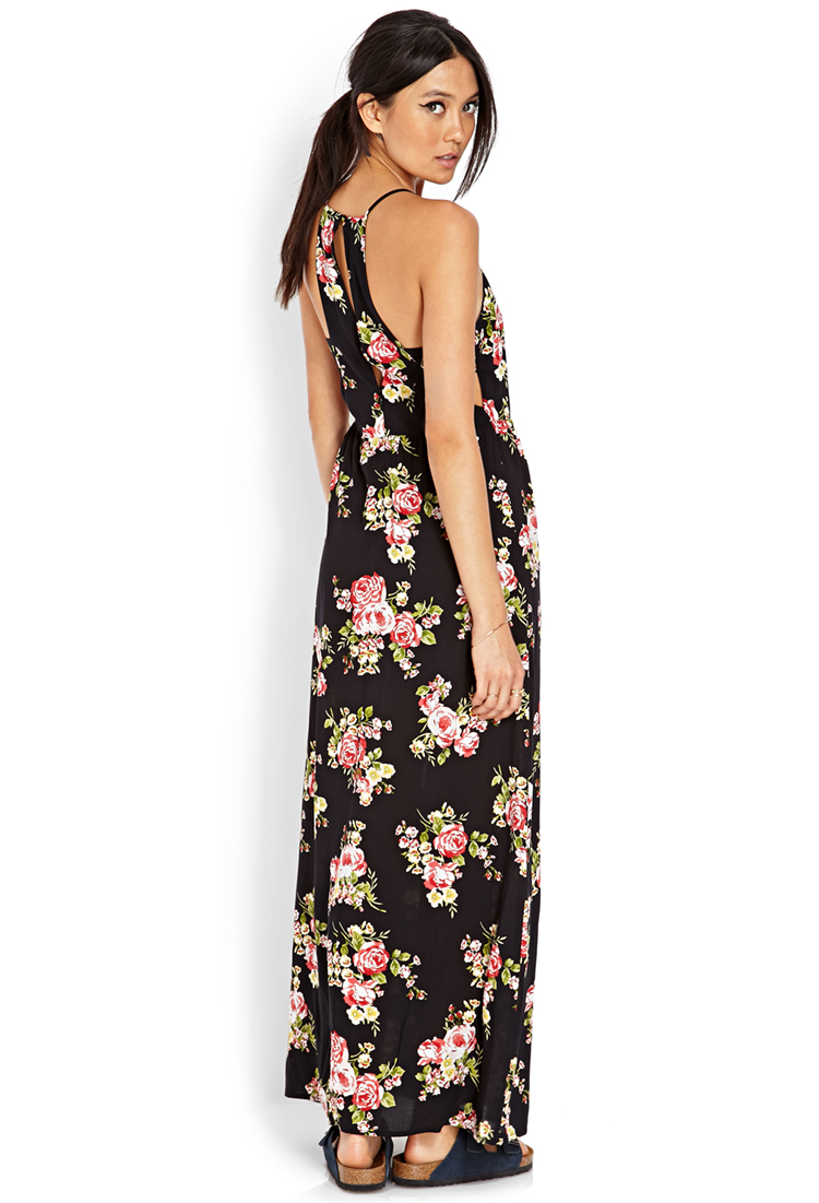 Forever 21 Cutout Rose Maxi Dress In Black Red Red Lyst