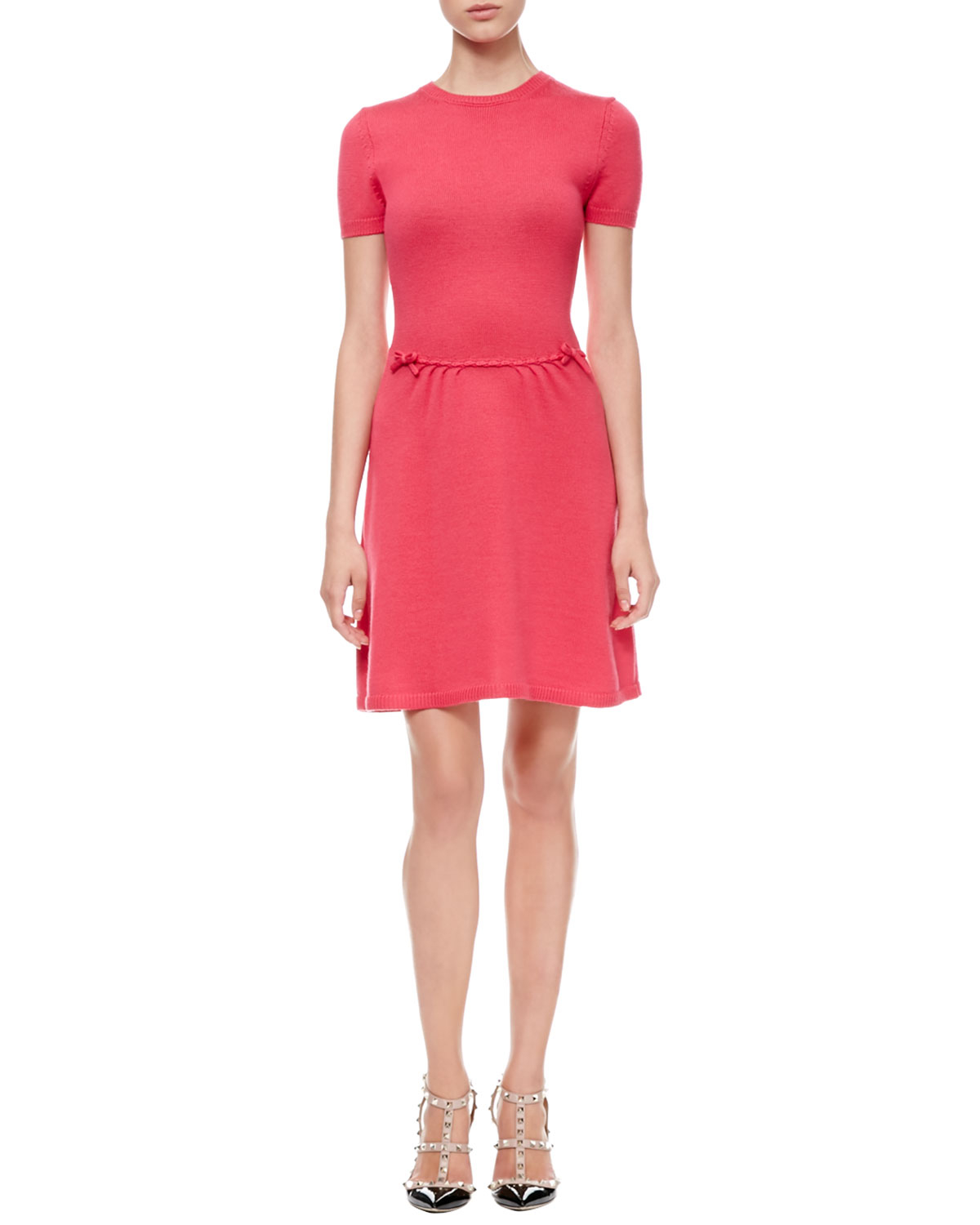 red valentino short sleeve bow waist dress in red lyst