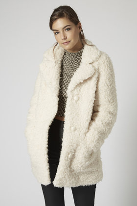 hot sales cheaper 50% price TOPSHOP Petite Faux Fur Teddy Coat in Cream (Natural) - Lyst