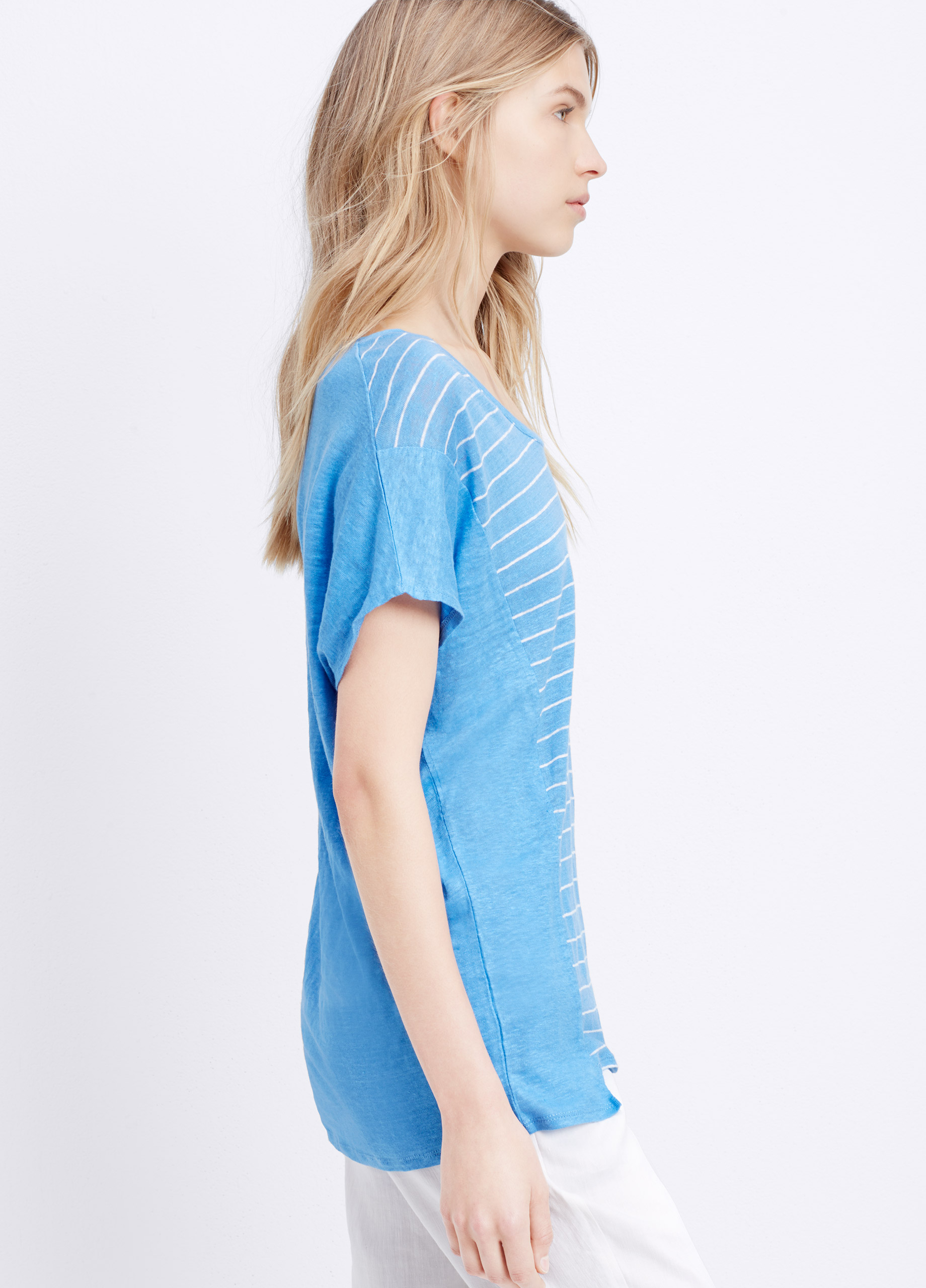Lyst Vince Striped Linen Cocoon Tee In Blue