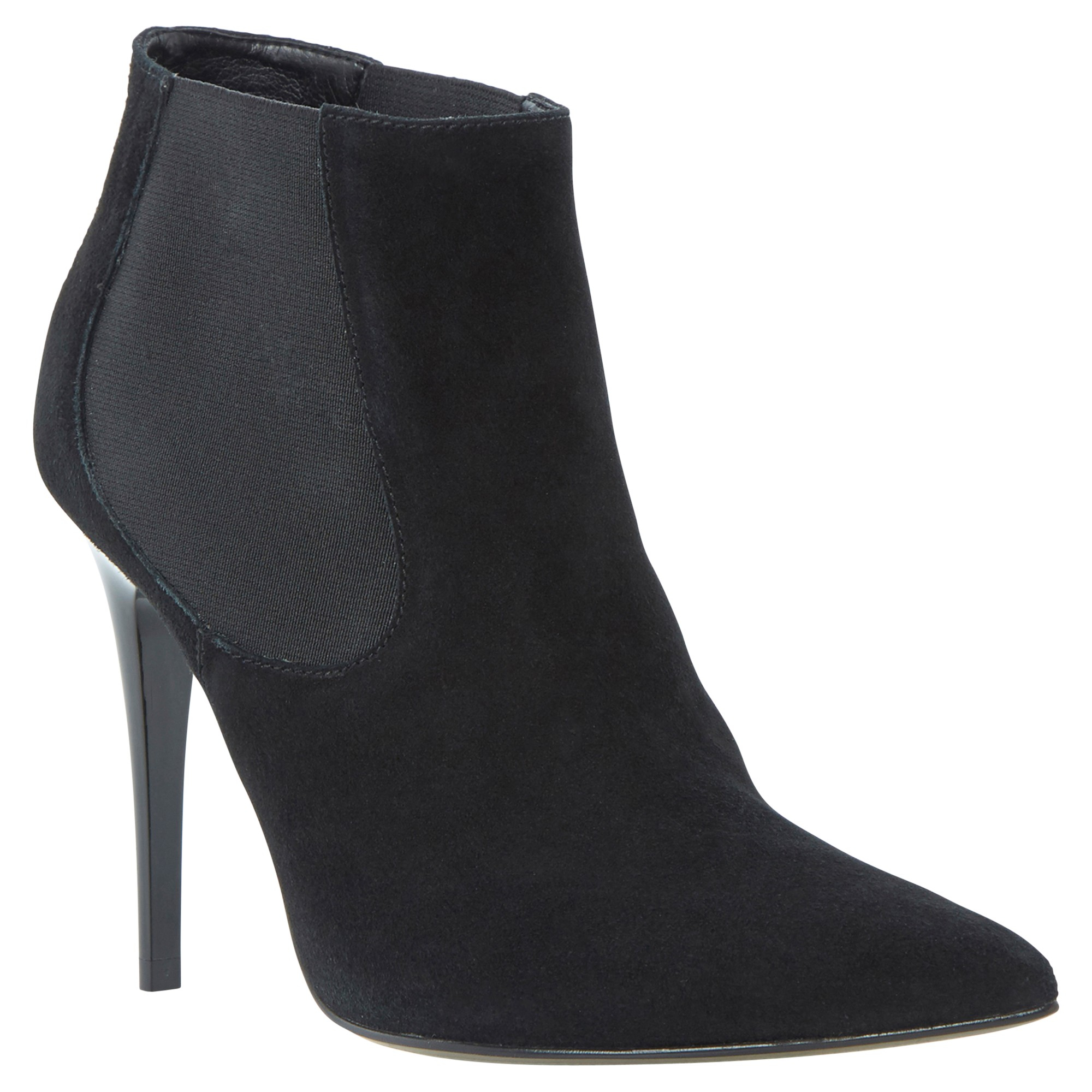 Dune Anola Pointed Suede Ankle Boots in Black