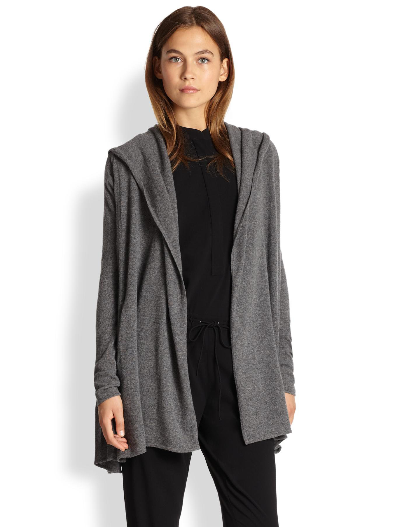 Vince Hooded Cashmere Cascade Cardigan in Gray | Lyst