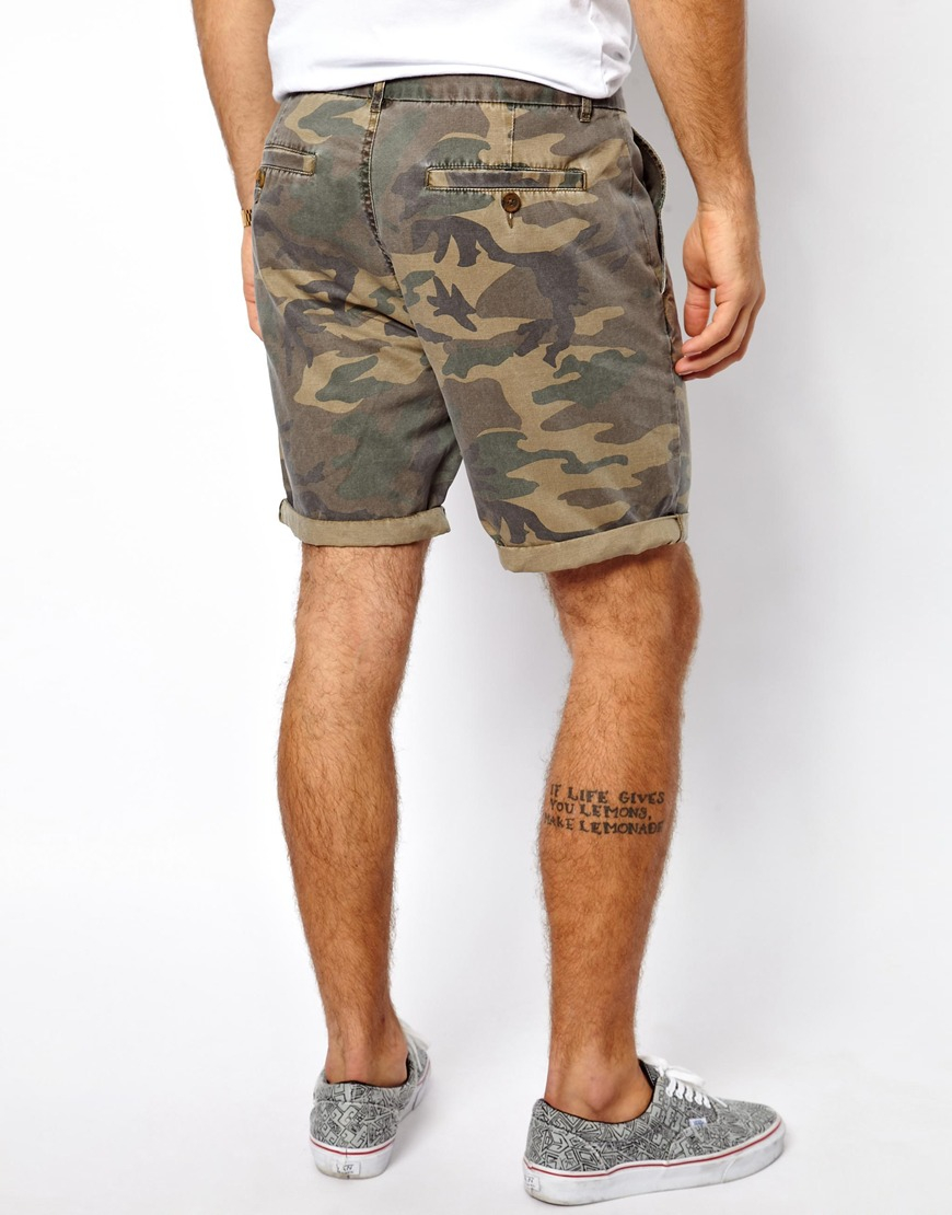 Asos Chino Shorts with Camo Print for Men | Lyst