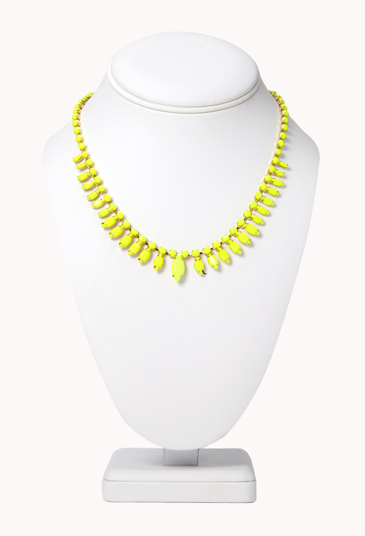 Lyst forever 21 minimalist faux stone necklace in yellow for Women s minimalist jewelry