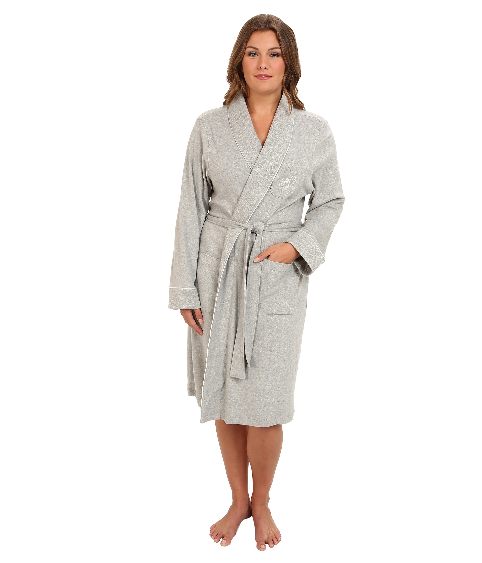 lauren by ralph lauren plus size essentials quilted collar and cuff robe in gray heather grey. Black Bedroom Furniture Sets. Home Design Ideas