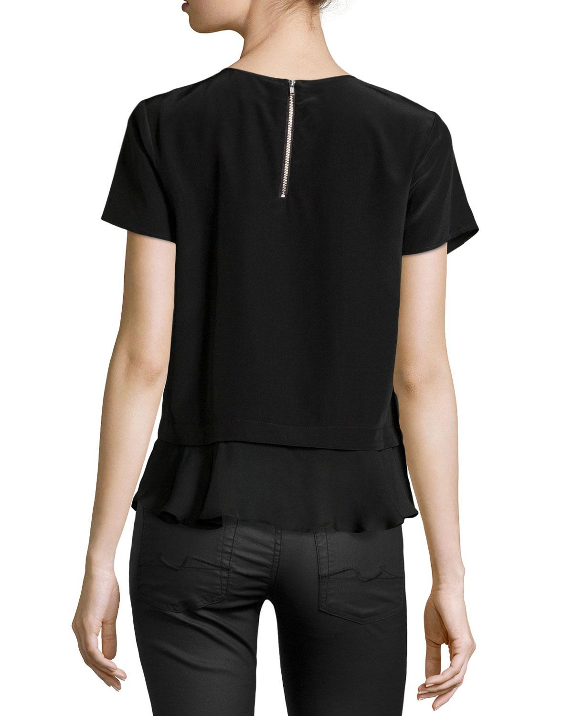 Black Short Sleeve Blouse Photo Album - Reikian