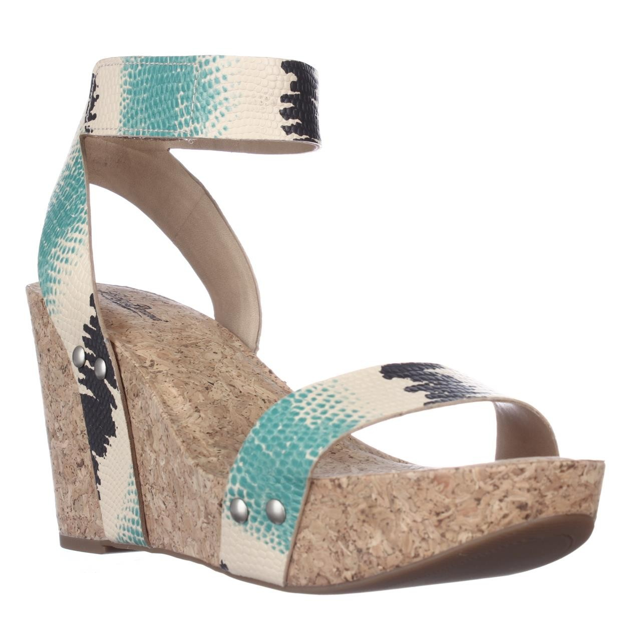 lucky brand lucky mcdowell cork wedge sandals in blue lyst