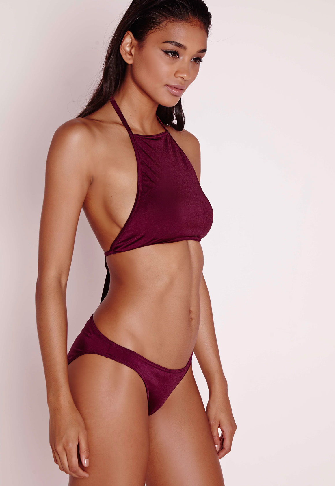 missguided high neck bikini top berry mix match in blue lyst. Black Bedroom Furniture Sets. Home Design Ideas
