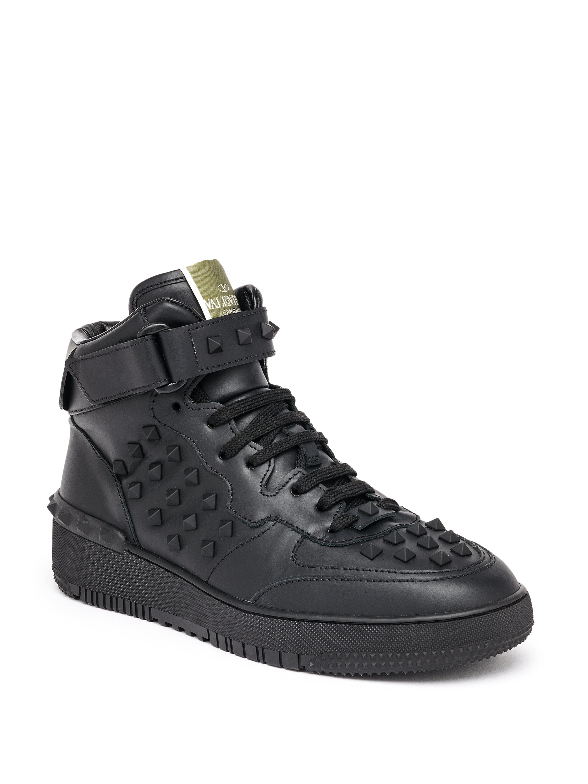 Lyst Valentino Rockstud Leather High Top Sneakers In Black For Men