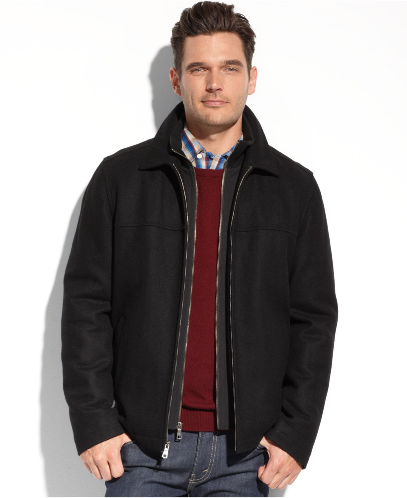 Tommy hilfiger Melton Wool Zip-front Bib Coat in Black for Men | Lyst