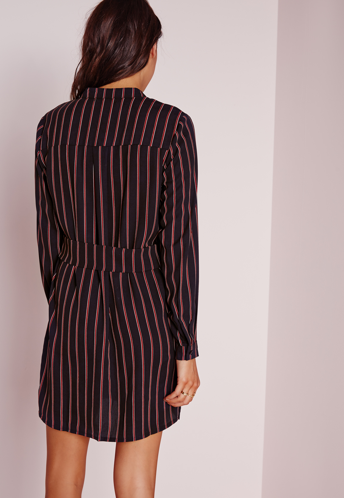 Missguided collarless stripe shirt dress navy red in blue for Blue striped dress shirt