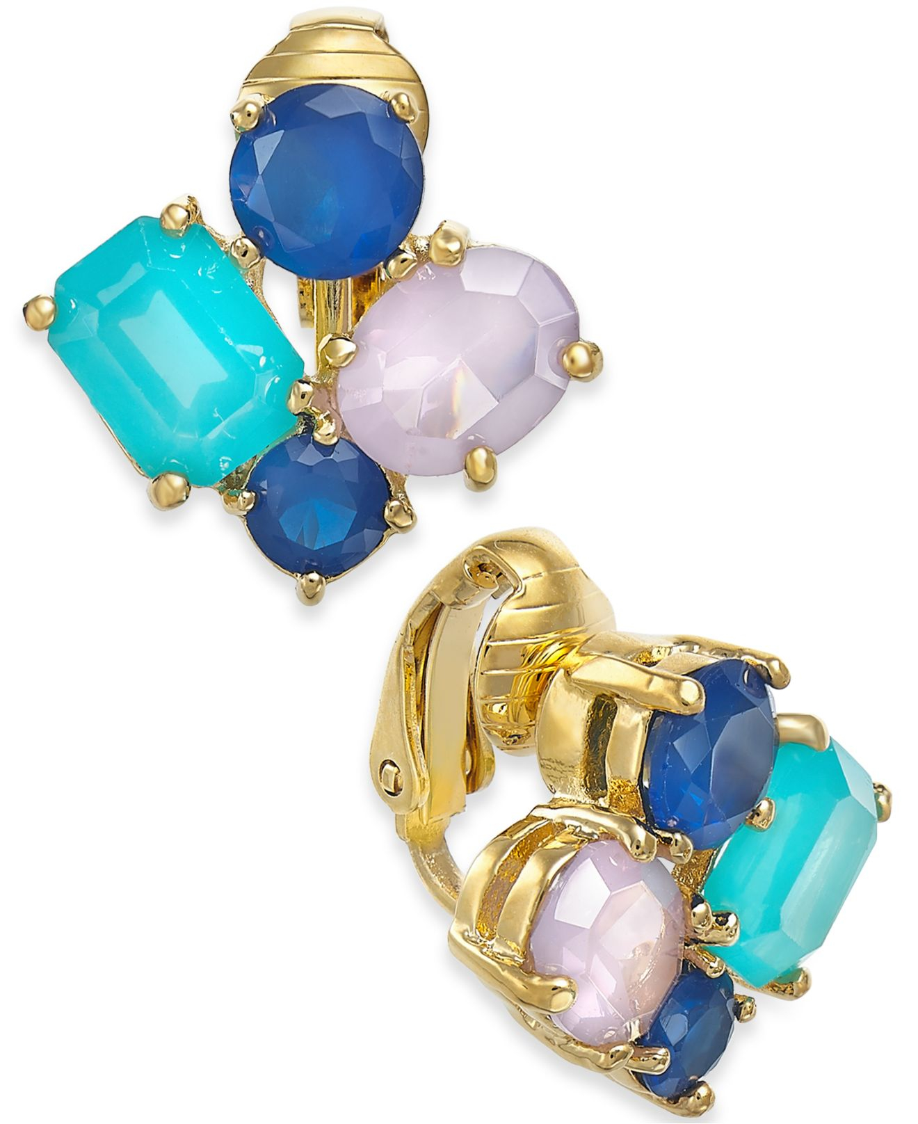 Lyst Kate Spade 14k Gold Plated Multicolor Cluster Clip On