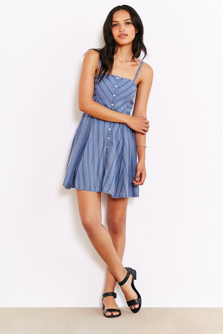 Kimchi Blue Abby Gauze Buttondown Fit Flare Dress In Blue