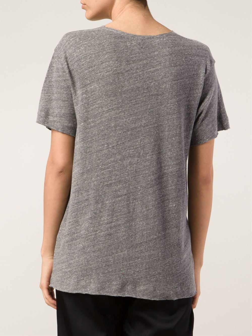 R13 scoop neck t shirt in gray lyst for Scoop neck t shirt