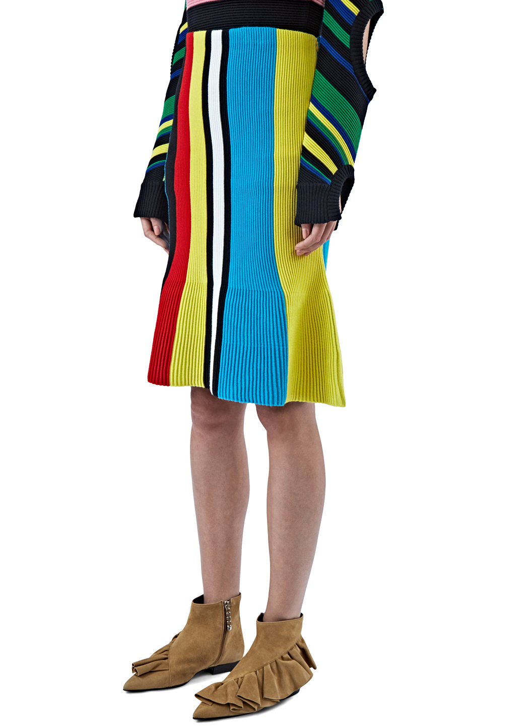 ff11a7903 JW Anderson Women's Ottoman Striped Knit Skirt In Blue, Yellow And ...