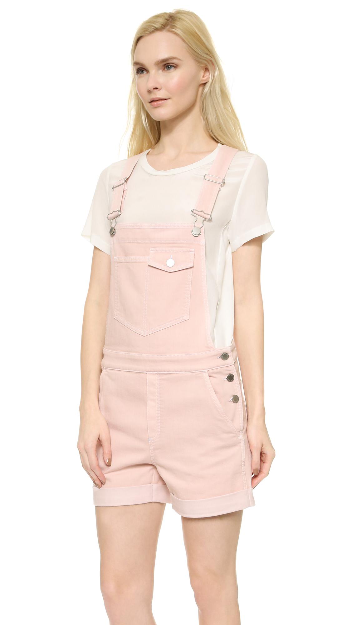 Stella Mccartney Denim Overall Shorts Light Pink Lyst