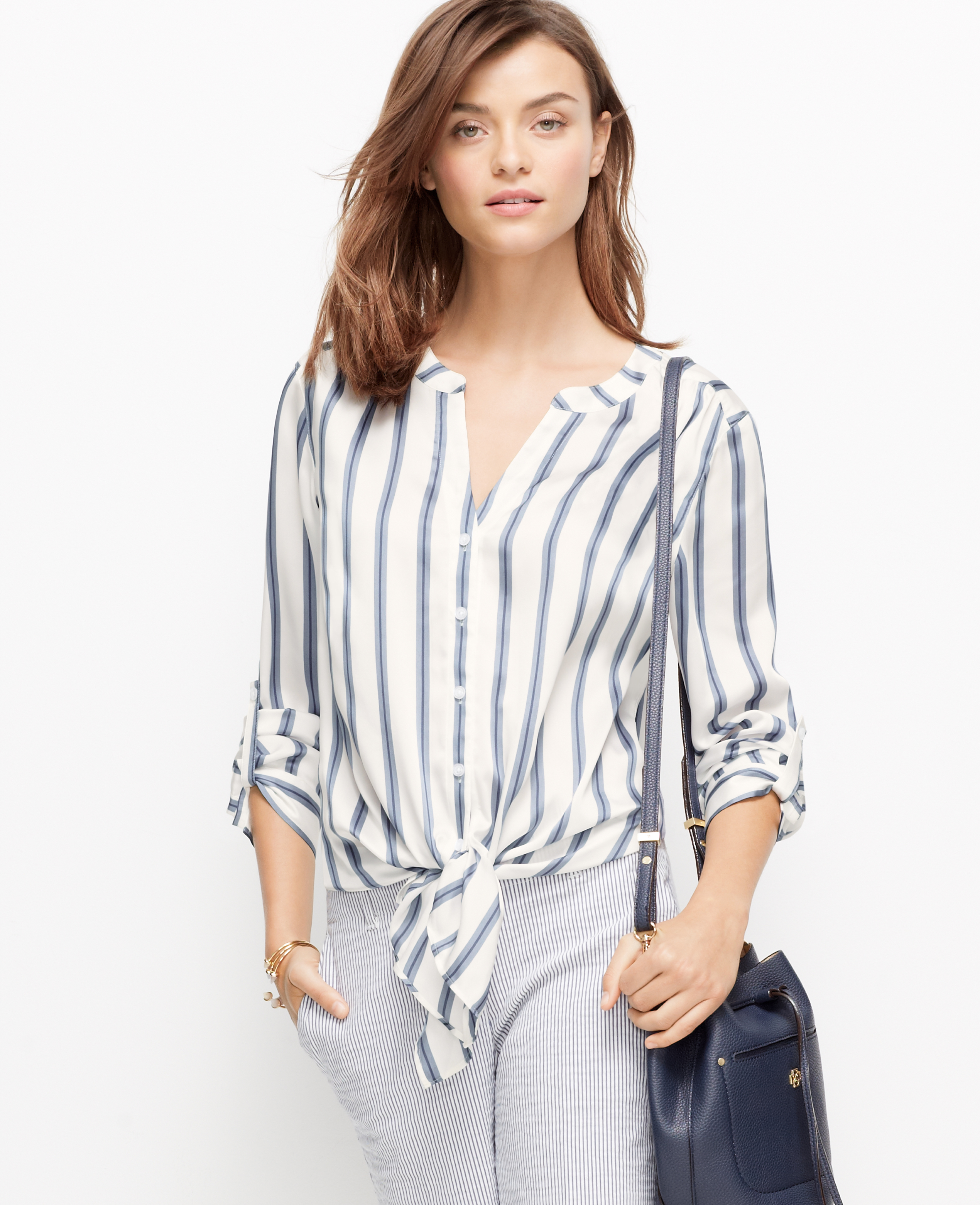 Ann Taylor Striped Tie Front Blouse In Blue Lyst