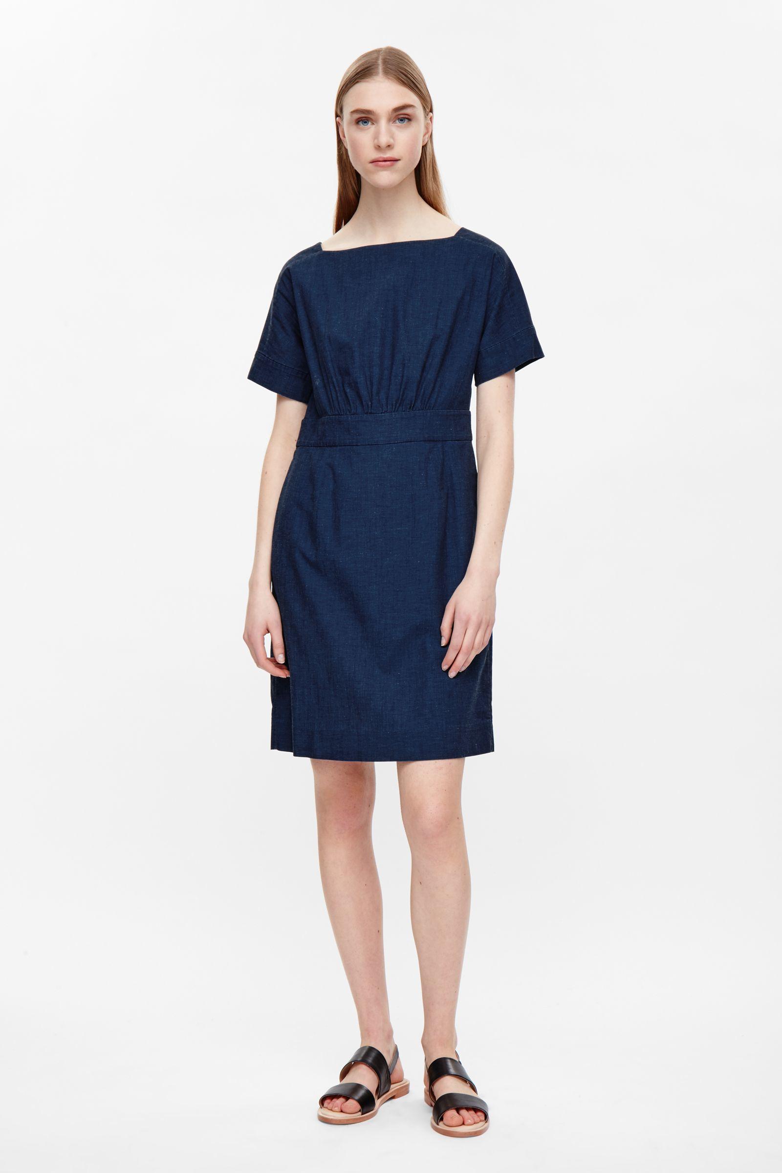 Cos Wide Neck Denim Dress In Blue Cobalt Lyst