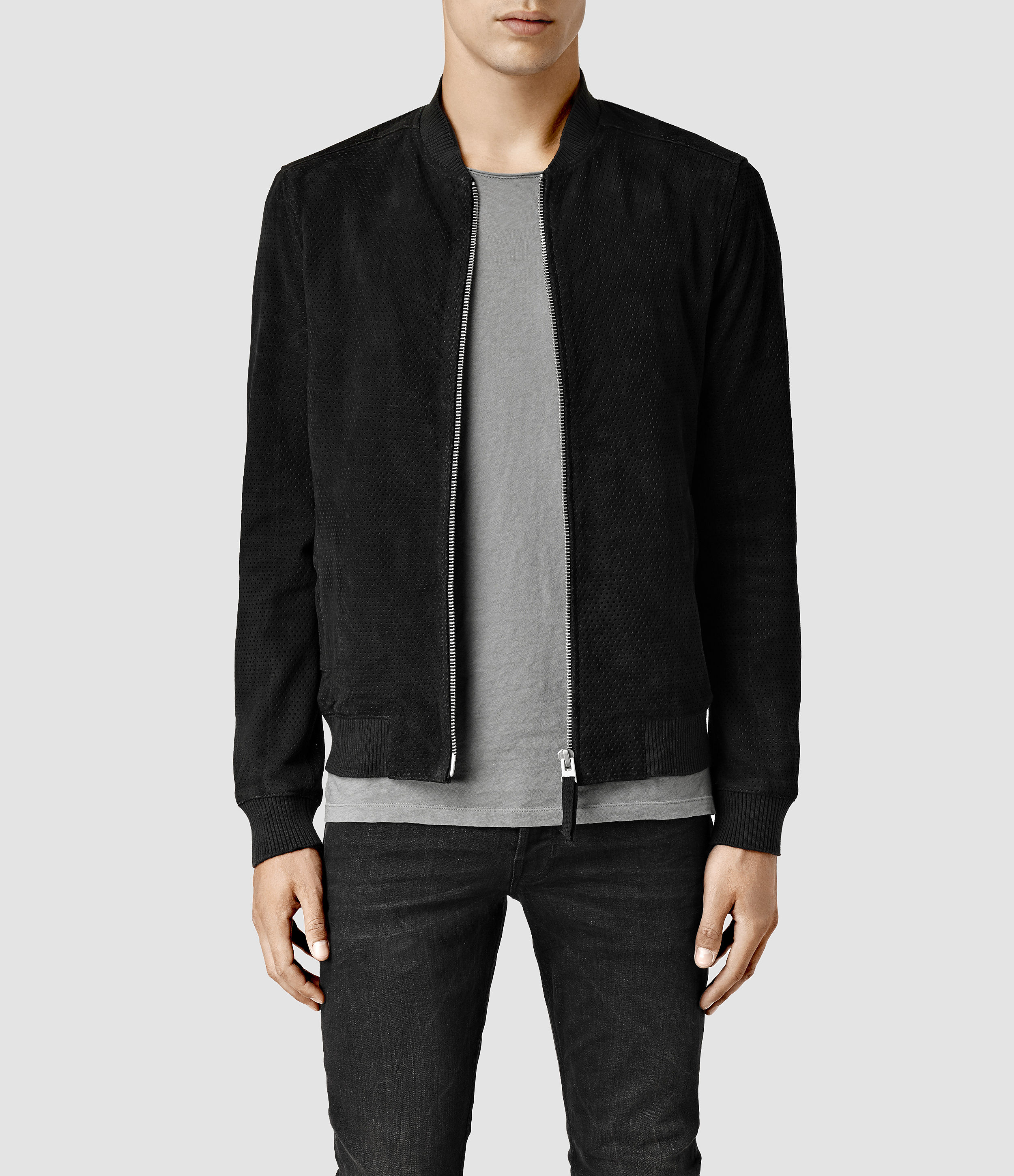 Allsaints Armoury Leather Bomber Jacket in Black for Men | Lyst