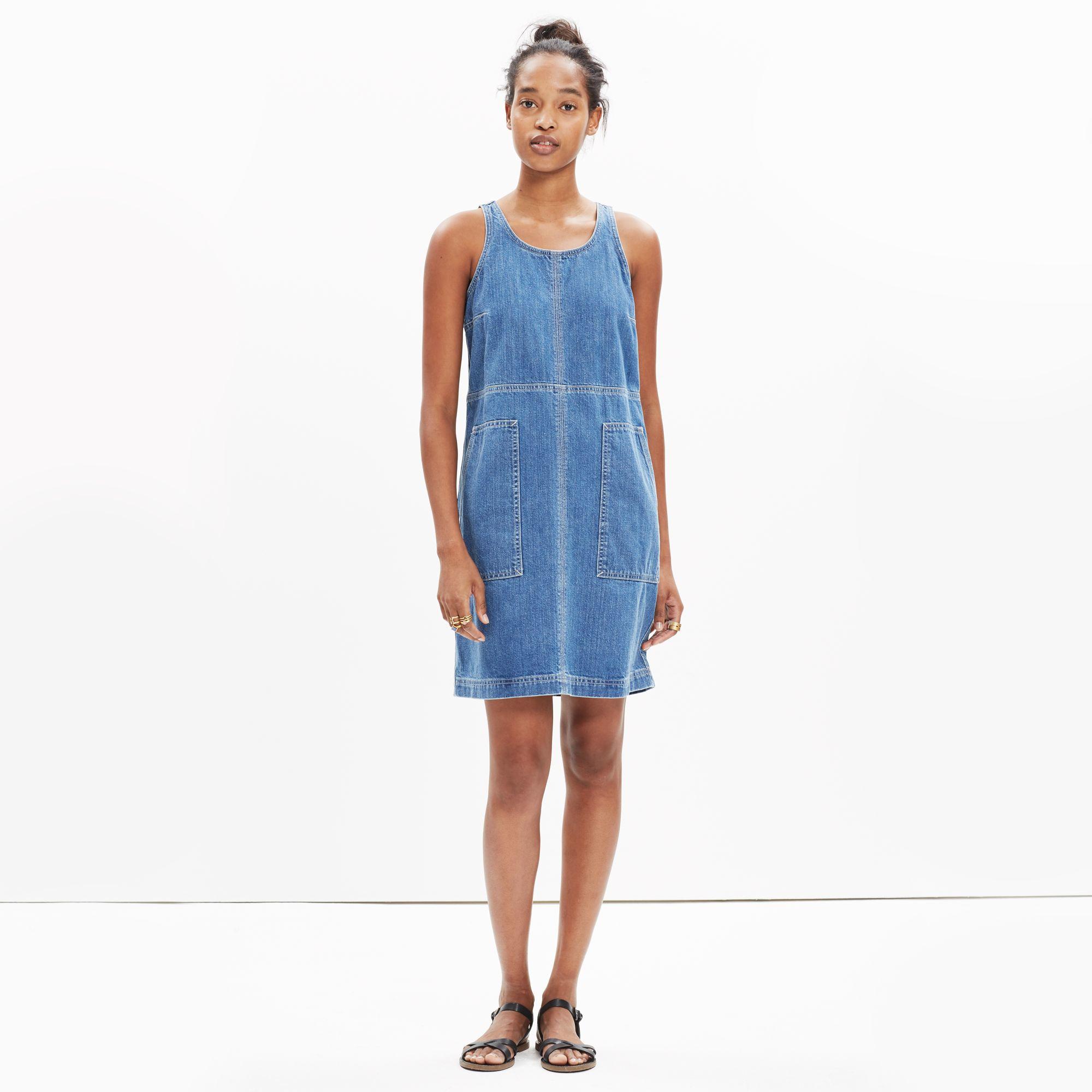 69f8b3272f Lyst - Madewell Denim Utility Shift Dress in Blue