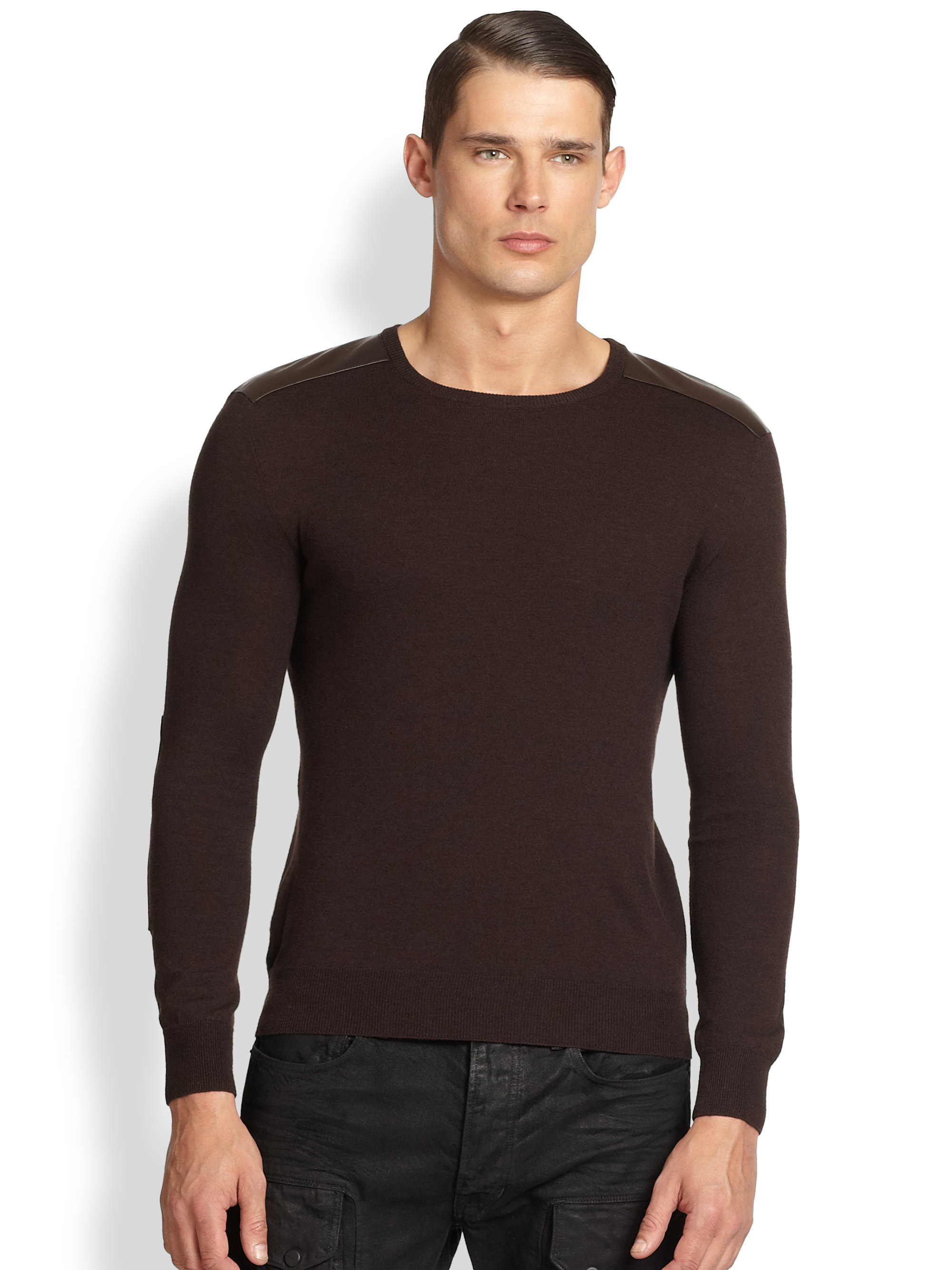 Ralph lauren black label Wool Leather Patch Sweater in Brown for ...
