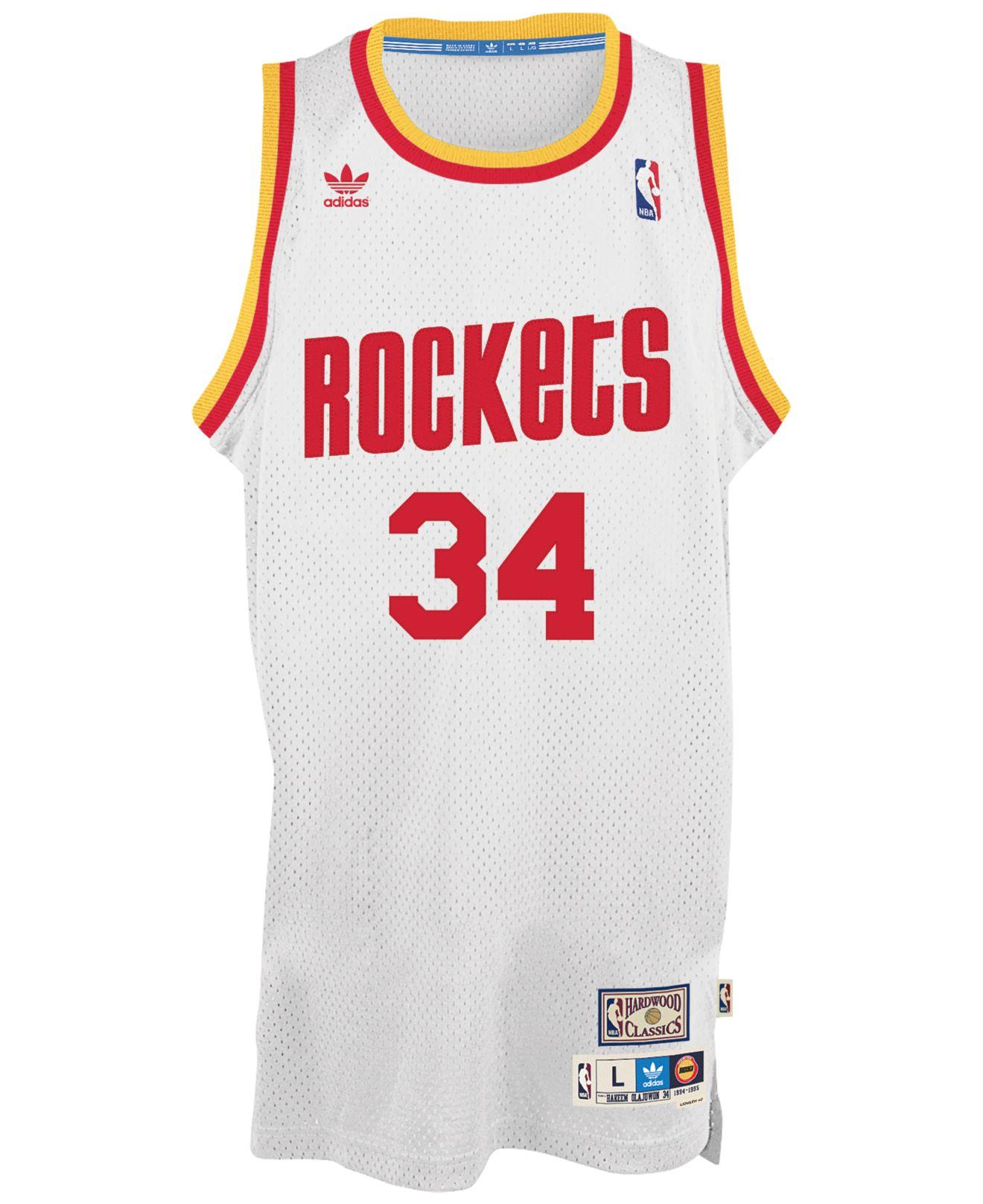 low priced 2f097 20041 Adidas White Men'S Hakeem Olajuwon Houston Rockets Retired Player Swingman  Jersey for men