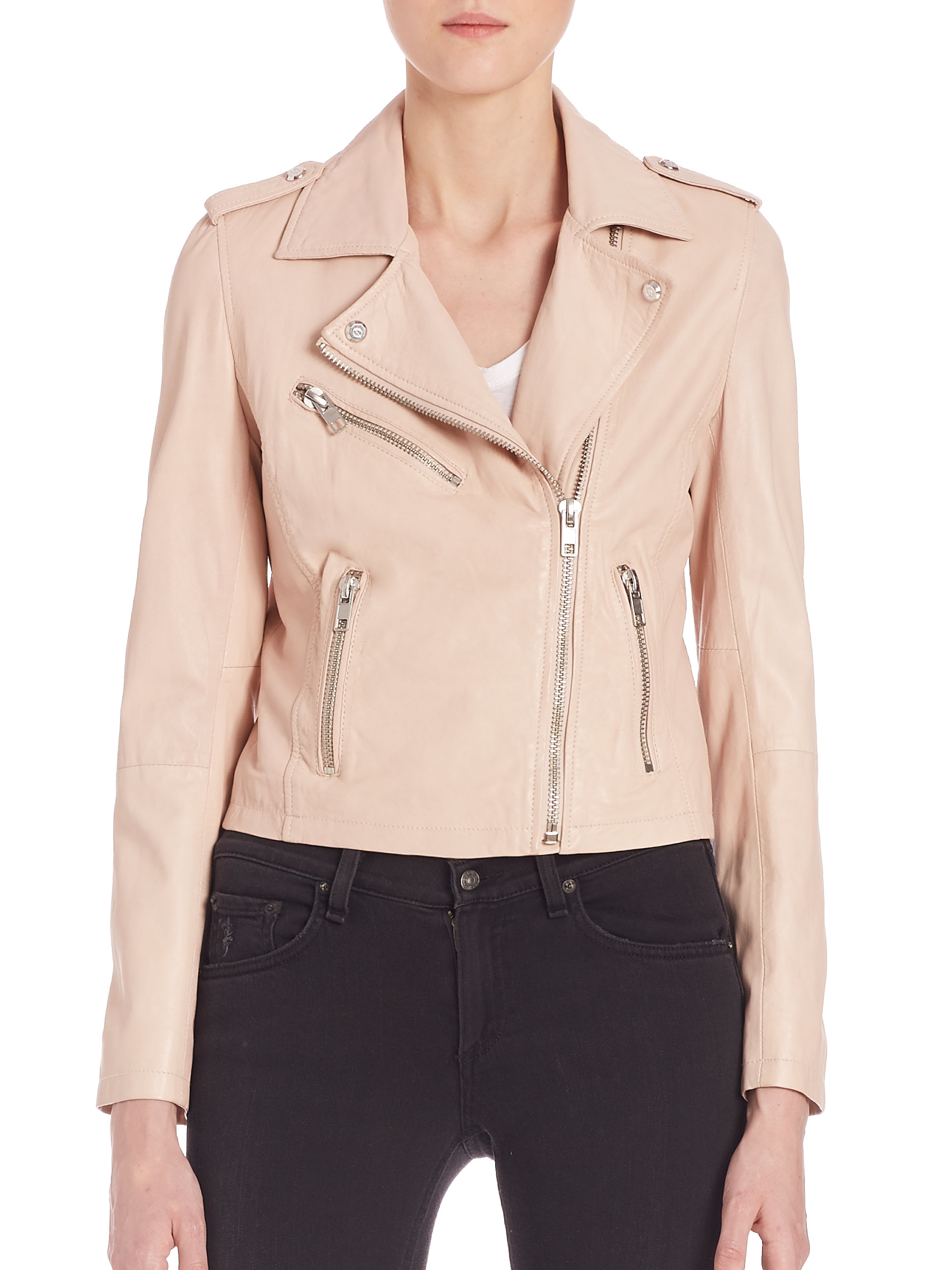 Doma leather Waxy Leather Biker Jacket in Pink | Lyst