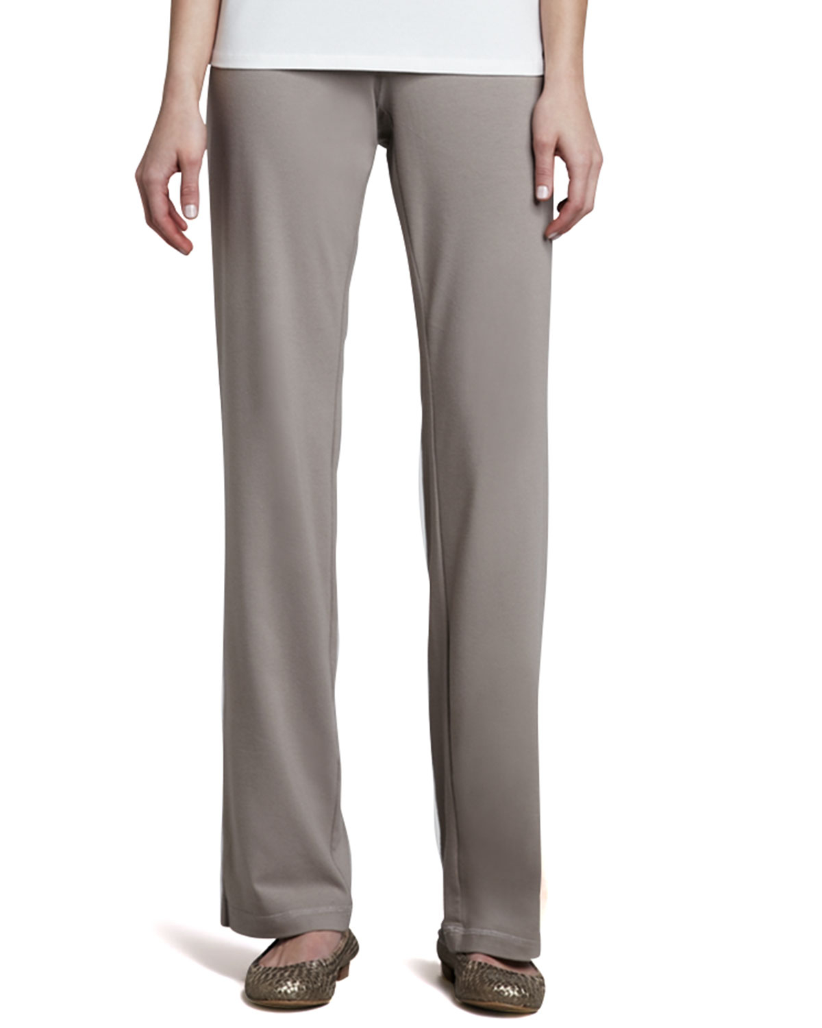 Eileen Fisher Organic Cotton Jersey Pants In Natural Lyst