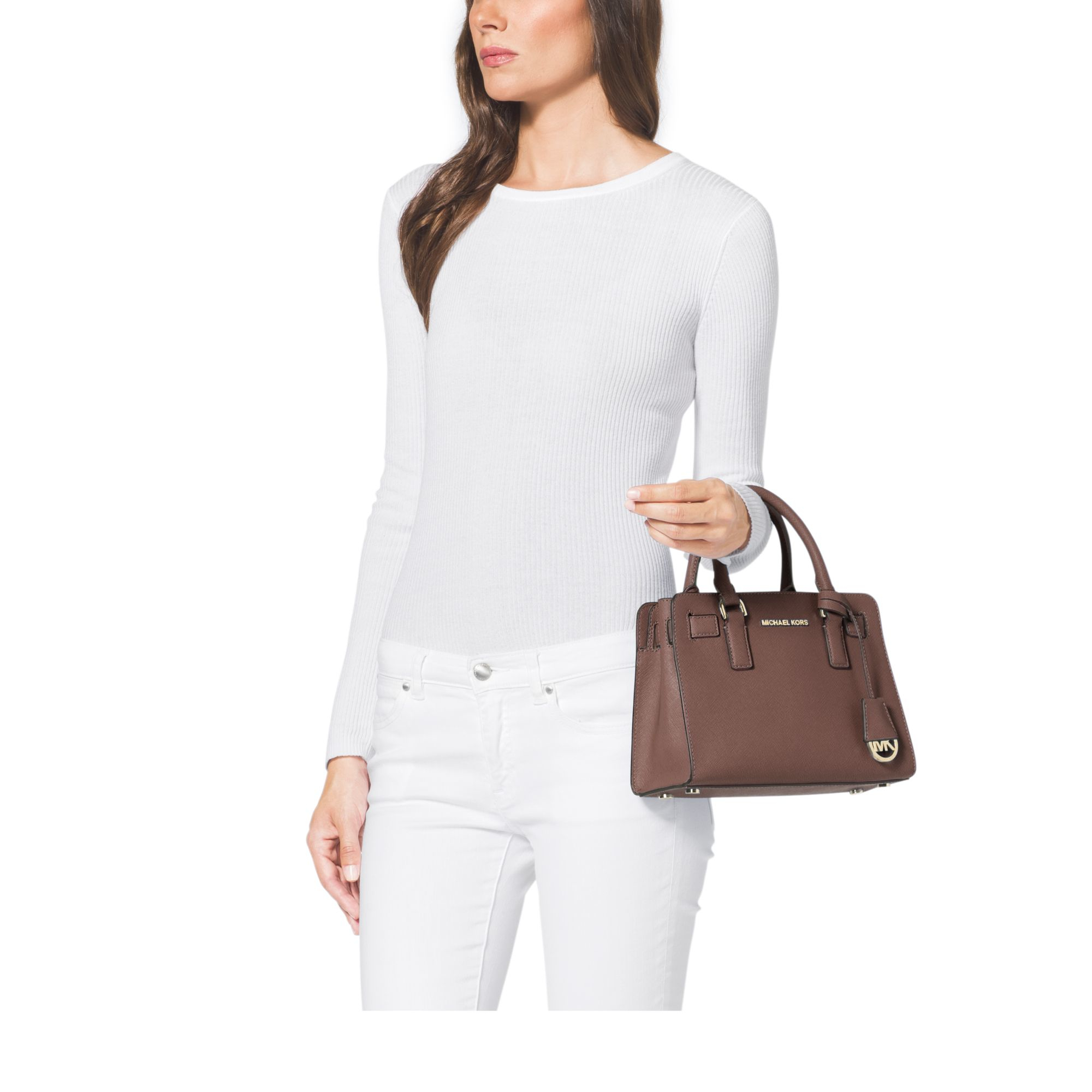 1dd75bb4ce63 Lyst - Michael Kors Dillon Small Saffiano-Leather Satchel in Brown