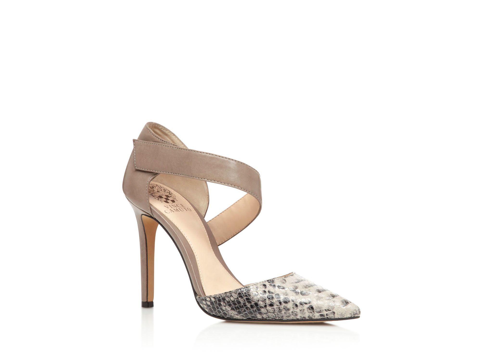 be8c4aeae35 Vince Camuto Gray Carlotte Asymmetrical Strap High Heel Pumps