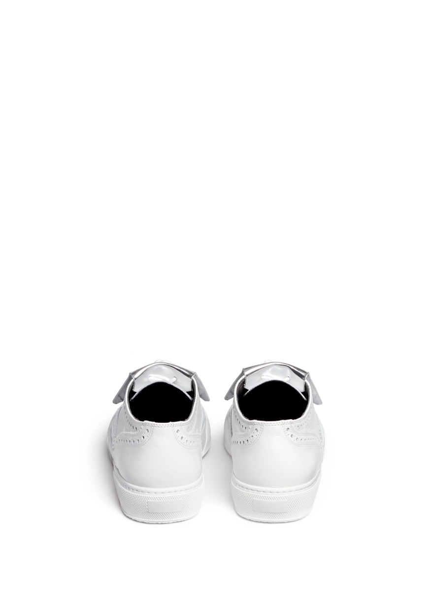 Robert Clergerie 'tolk' Detachable Kiltie Leather Brogue Sneakers in White/Transparent (White)