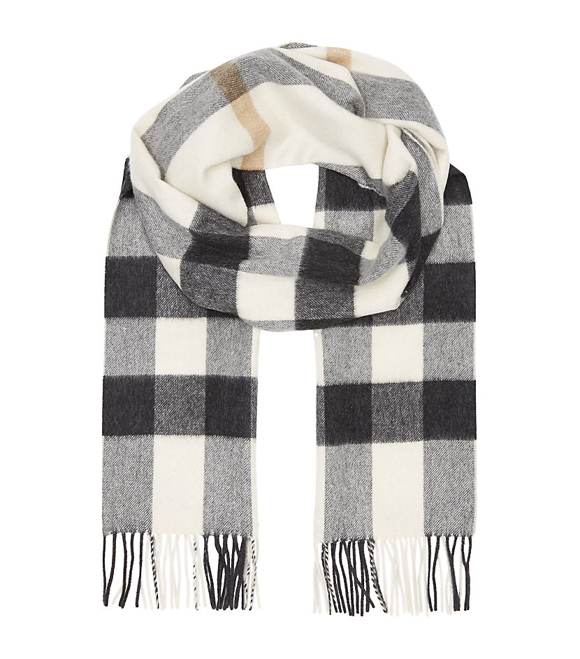 burberry check scarf in gray lyst