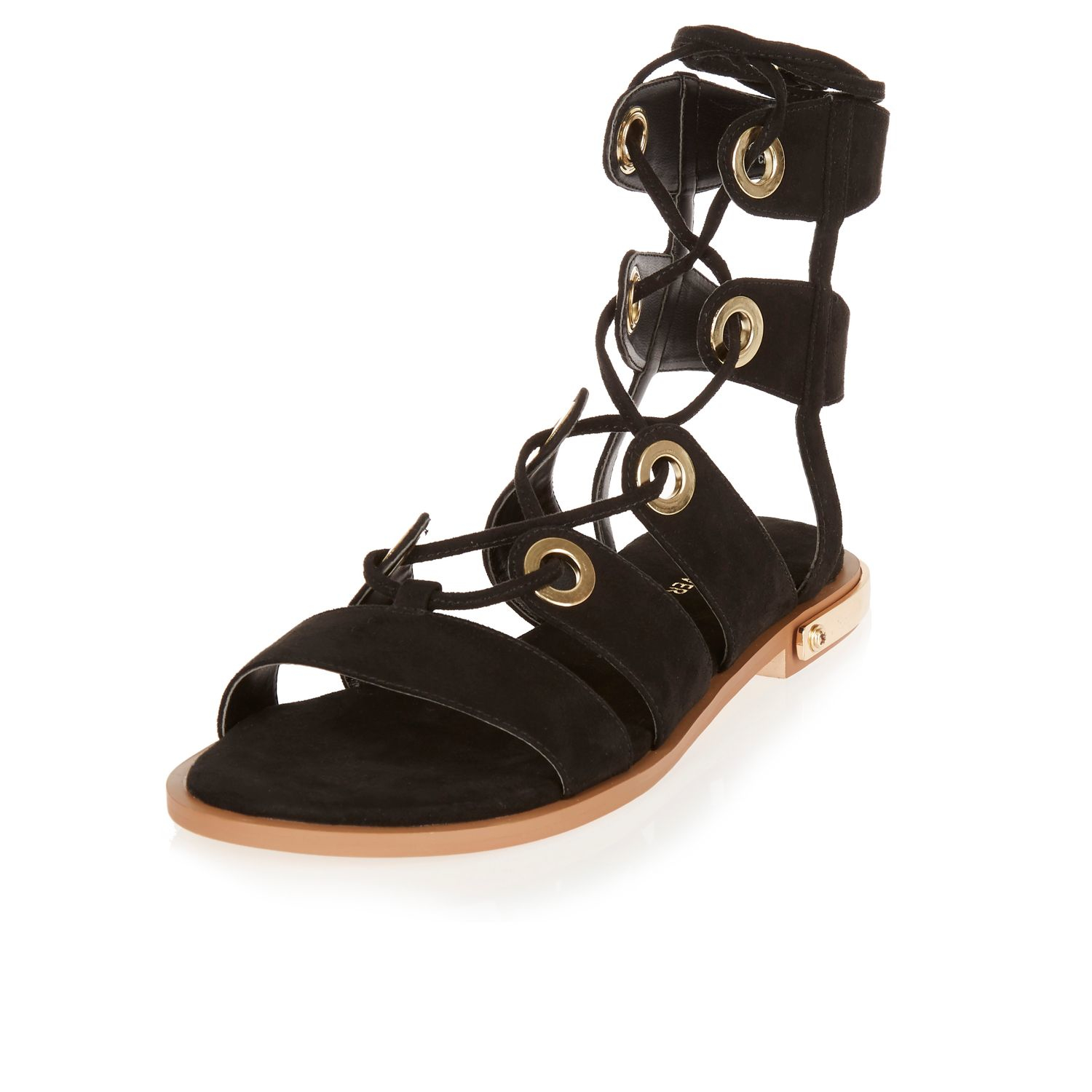 outlet store sale temperament shoes casual shoes Black Eyelet Gladiator Sandals