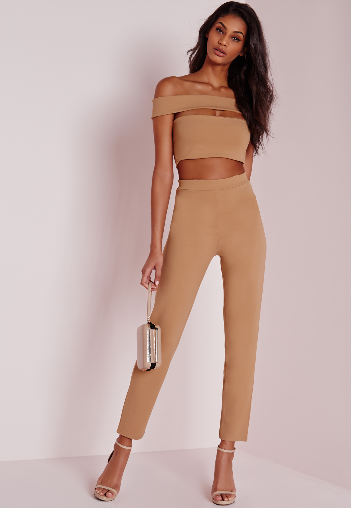 Missguided Bandage Bardot Tapered Leg Jumpsuit Camel In
