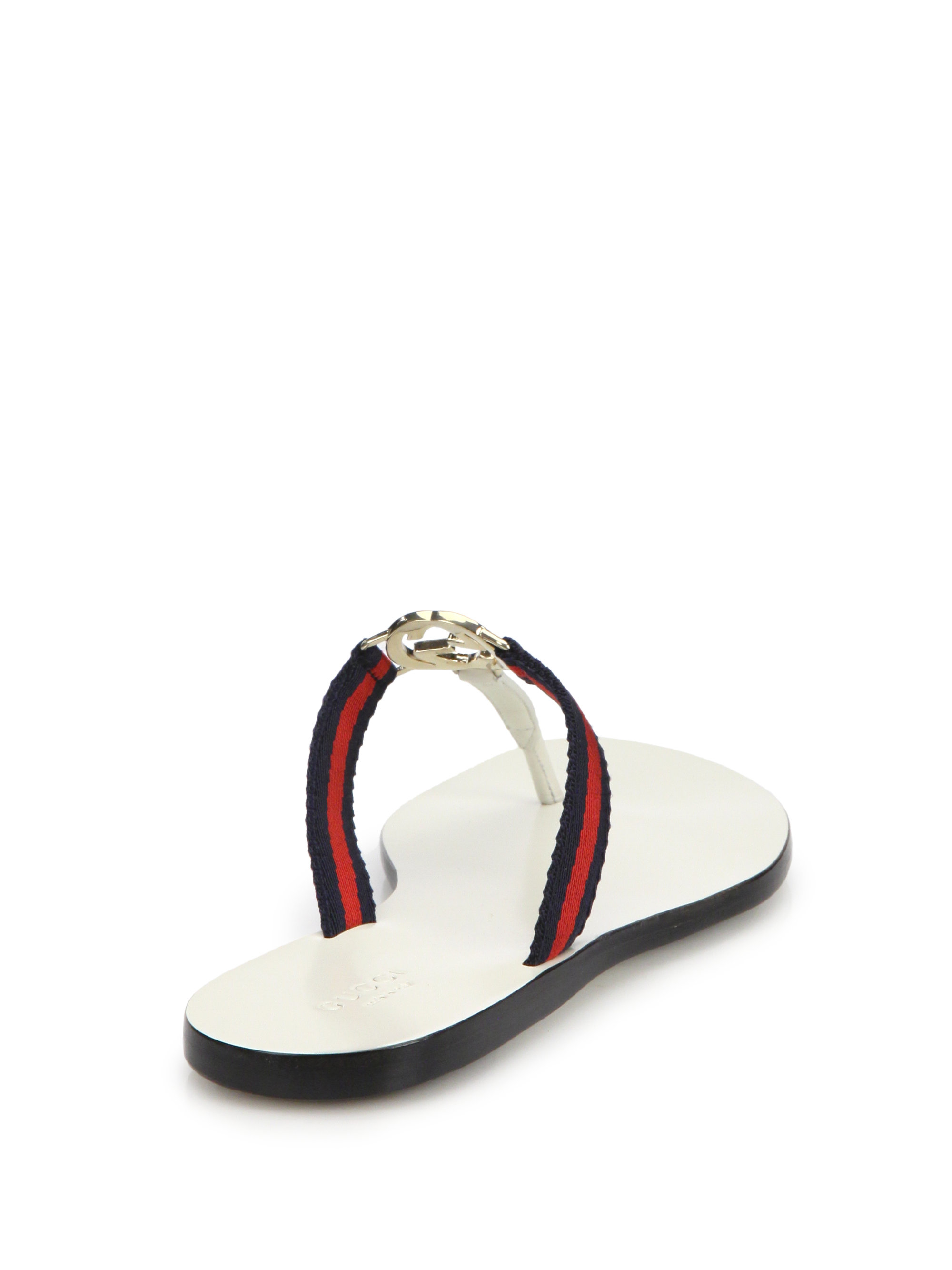 0901ec46ab0c31 Lyst - Gucci New Gg Canvas   Leather Signature Thong Sandals in Blue