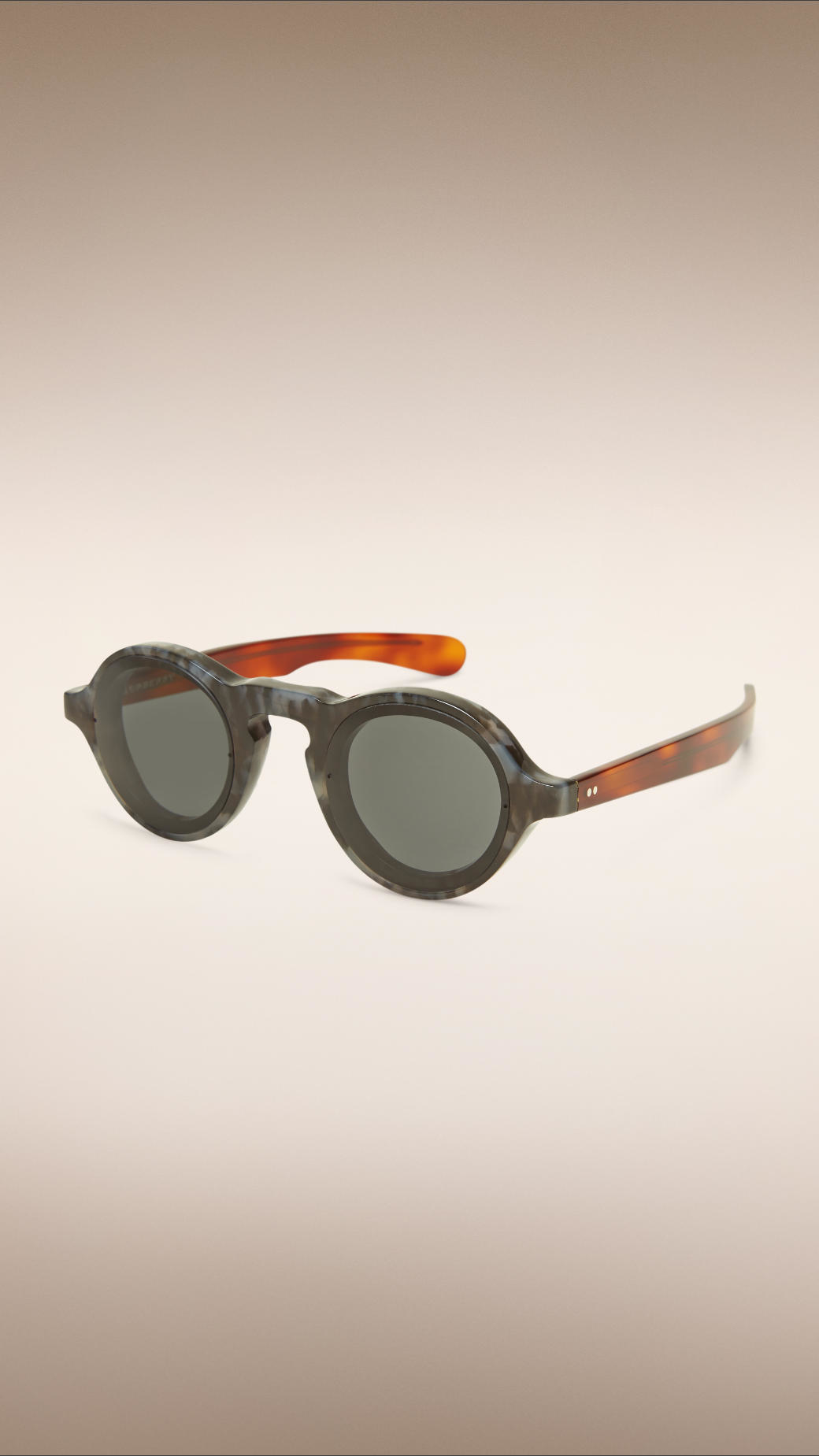 Burberry Colour Block Round Frame Sunglasses in Grey (Grey)