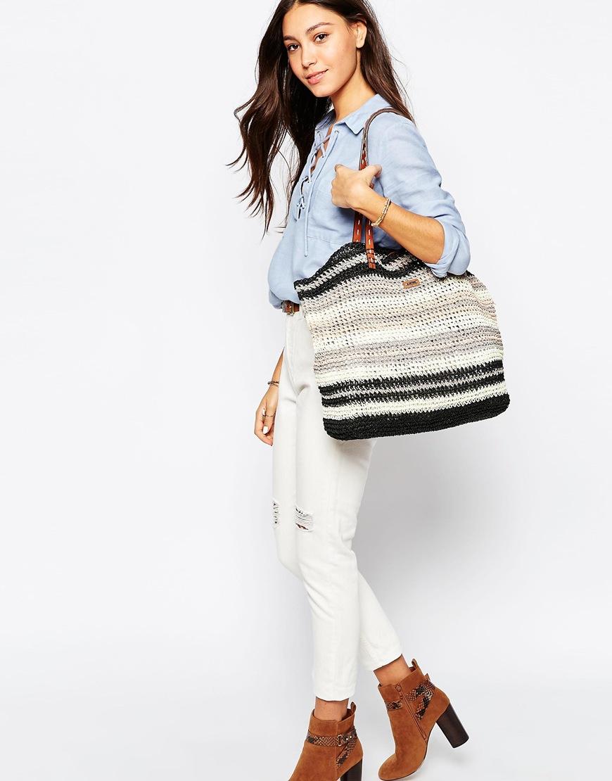 Lyst Nali Striped Straw Shopper Bag In Black