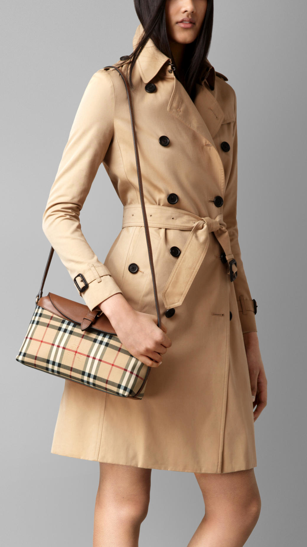 7206bf1d0405 Lyst - Burberry Small Horseferry Check Clutch Bag in Natural