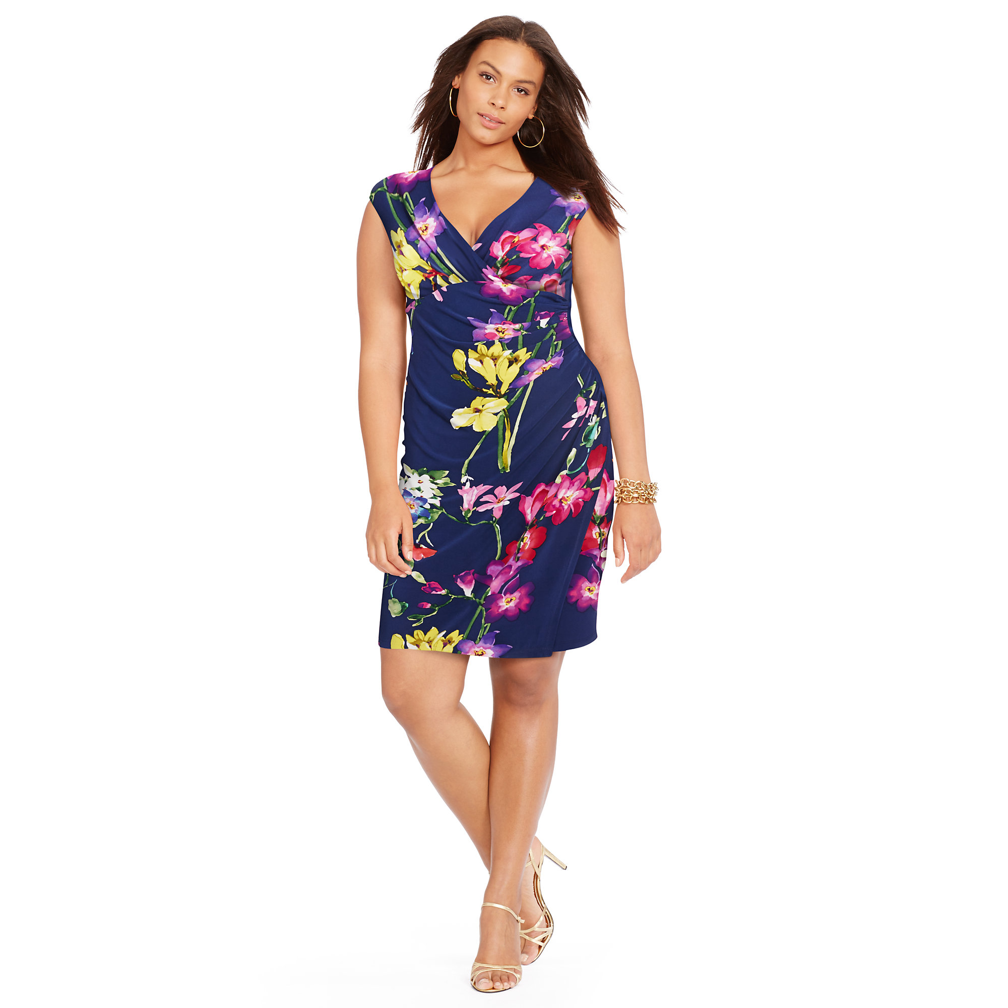 Ralph lauren Floral Wrap Dress in Blue - Lyst