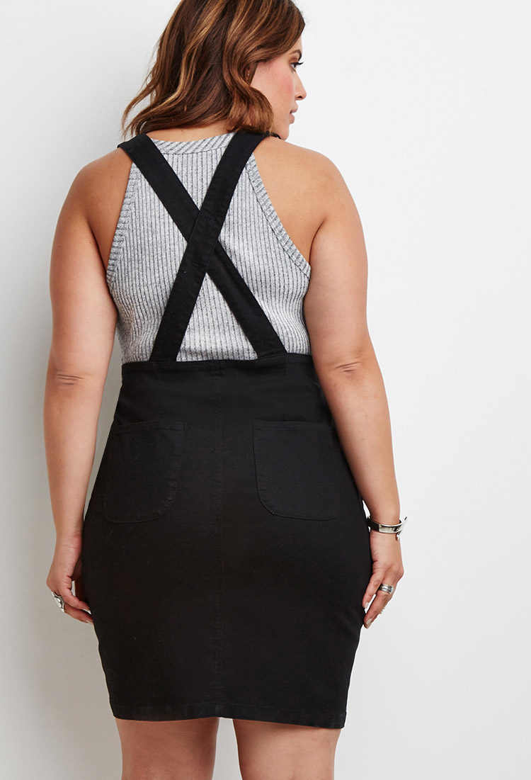 Forever 21 Plus Size Zipped Denim Overall Dress In Black