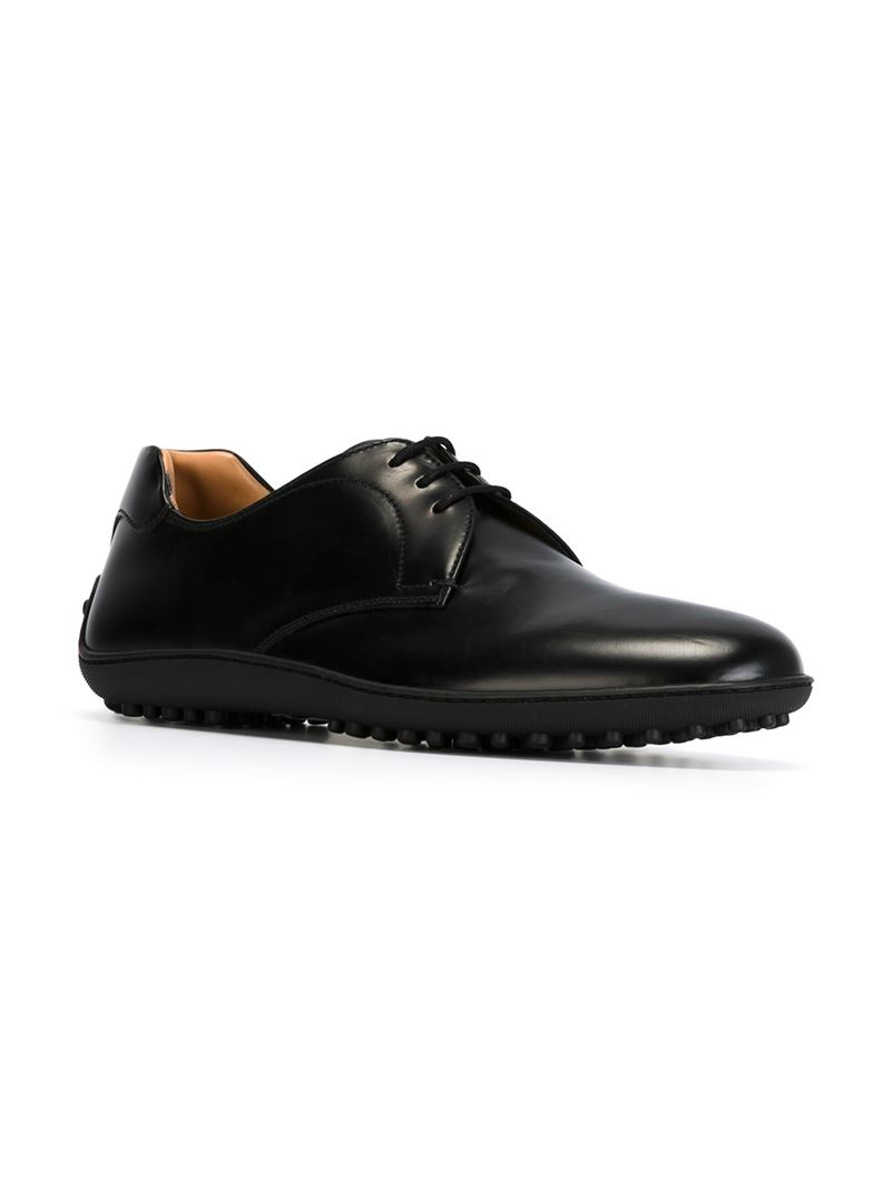 car shoe rubber sole derby shoes in black for lyst