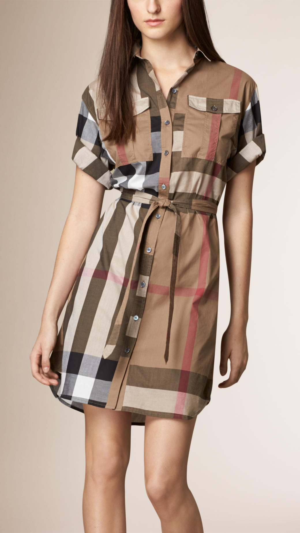 Burberry Check Cotton Box Fit Shirt Dress In Brown Taupe