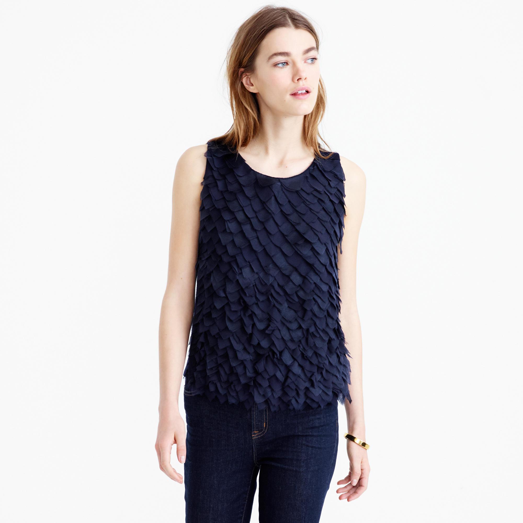 J.crew Collection Lightweight Wool And Chiffon Sleeveless Sweater ...