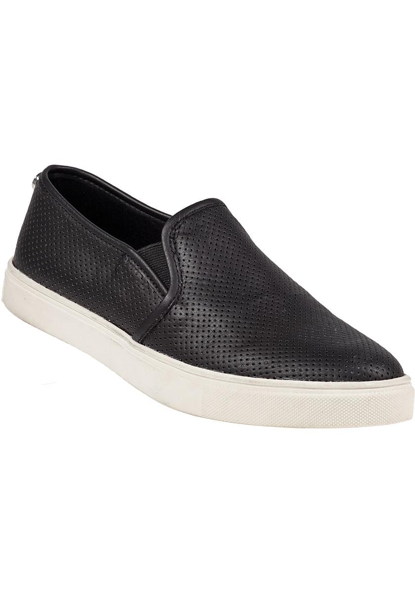 Steve Madden Ezeke Perforated Slip On Sneaker Black In