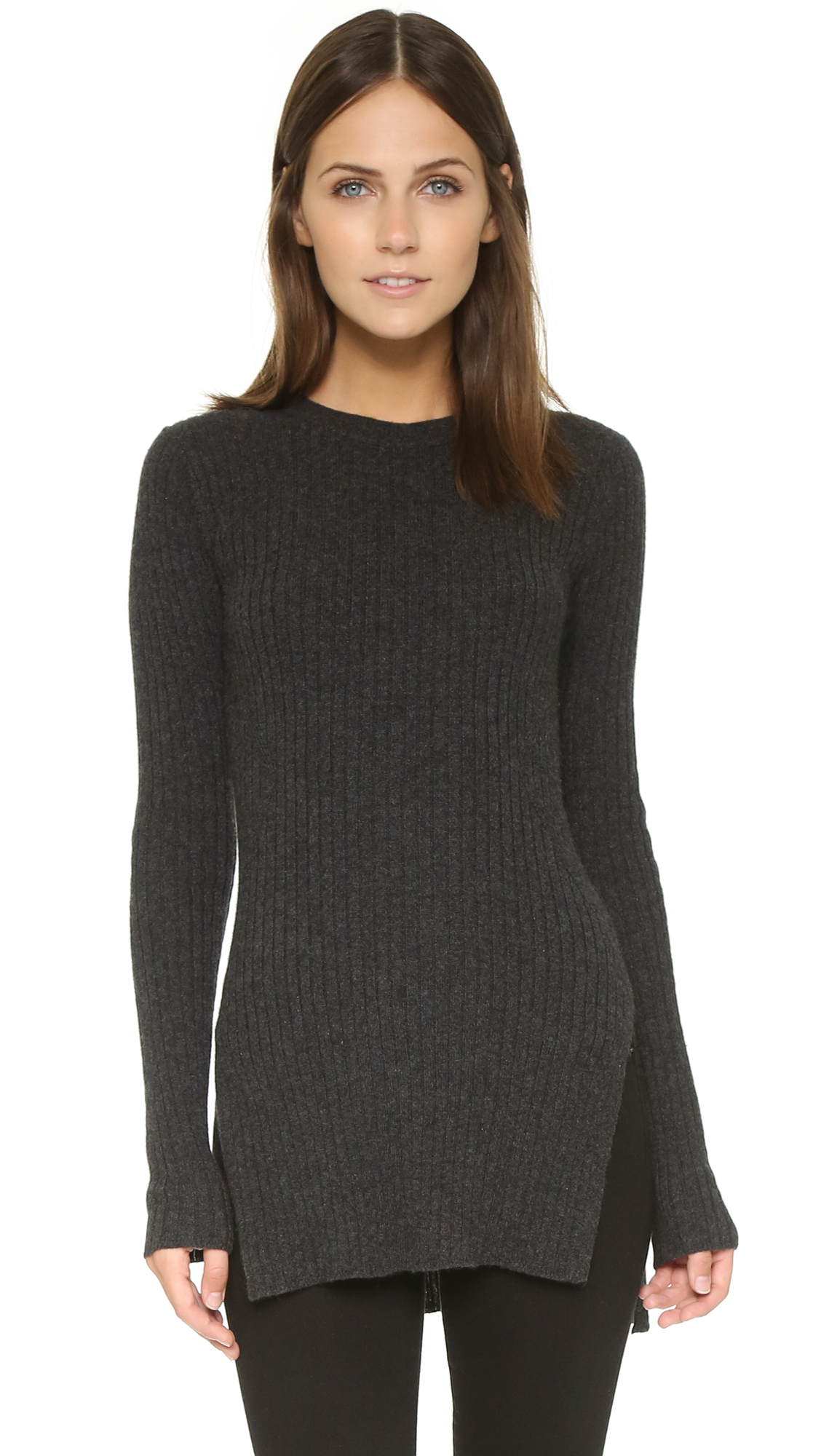 Autumn cashmere Ribbed Tunic With Side Slits - Pepper in Gray | Lyst
